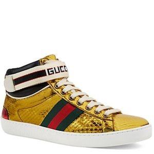 NIB $980 GUCCI ace sneakers gold snake hi top 41